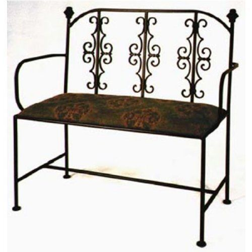 """Grace Gothic Wrought Iron Loveseat, 40in, Palomino Black Fabric, Antique Bronze Finish by Grace Collection. $505.34. The Gothic Iron Loveseat by the Grace Collection conveniently offers seating for both you and another. Designed to resemble medieval architecture, this loveseat is constructed from old world wrought iron and boasts decorative gothic style accents. Measuring 40"""" W x 22"""" D x 36"""" H, this metal bench features a comfy cushioned seat with a cover in your choic..."""