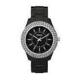 Fossil Women's ES2445 Black Resin Bracelet Black Glitz Analog Dial Watch (Watch)By Fossil