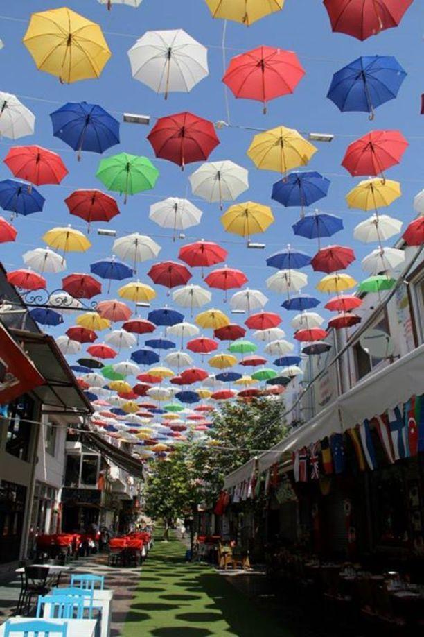 Umbrellas swaying overhead! Discovered by Adrift Anywhere at Antalya, Turkey, Antalya, #Turkey #travel