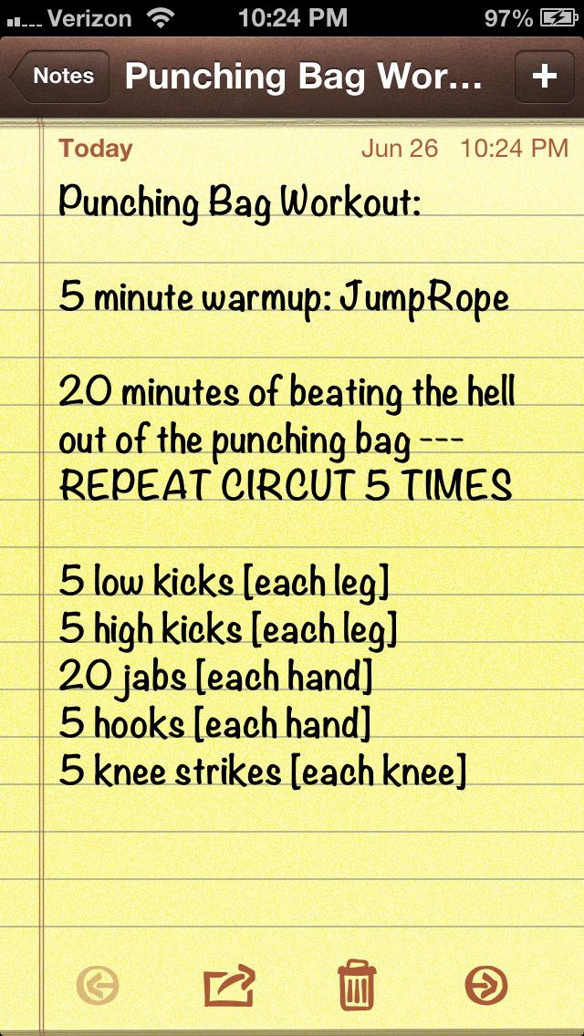 Punching bag workout :) - seems doable. I think I could work my way up to this.
