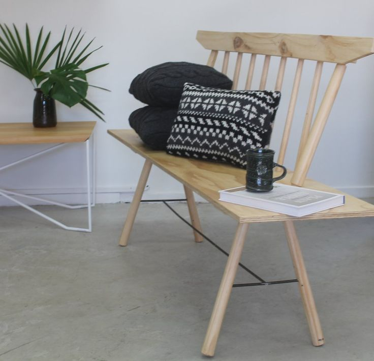 Shop interior at Cauliflower.  Bench seat with cushions.