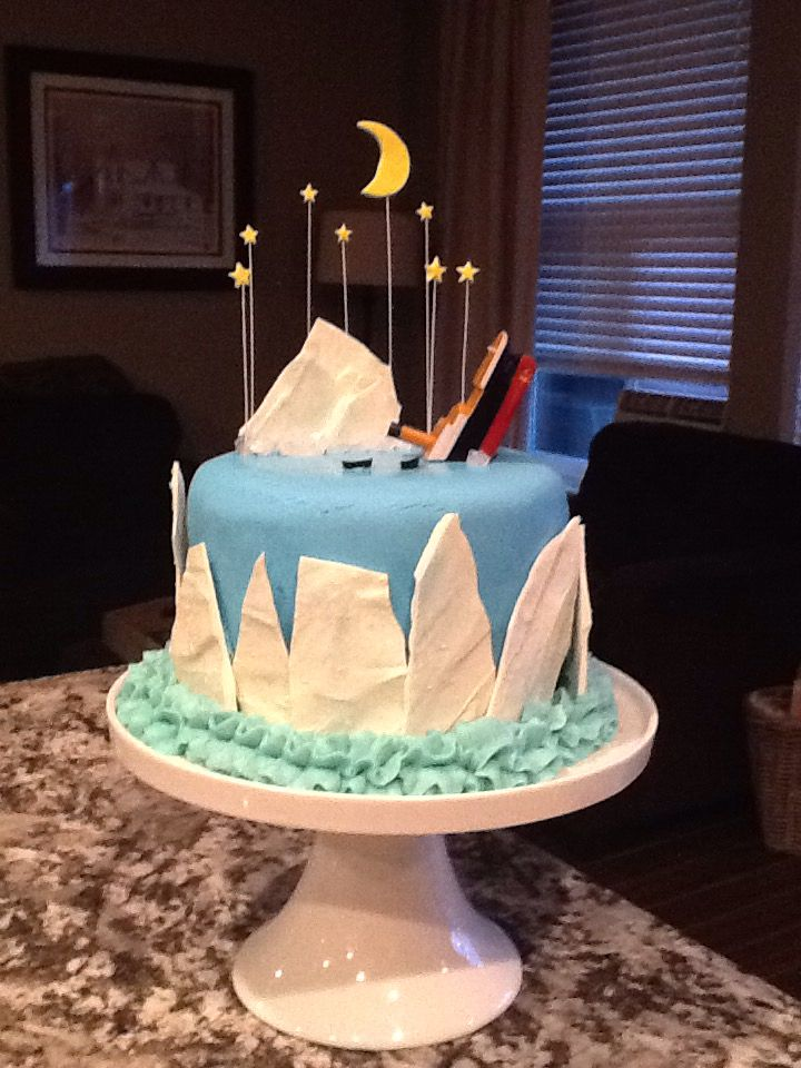 Titanic themed iceberg cake                                                                                                                                                     More