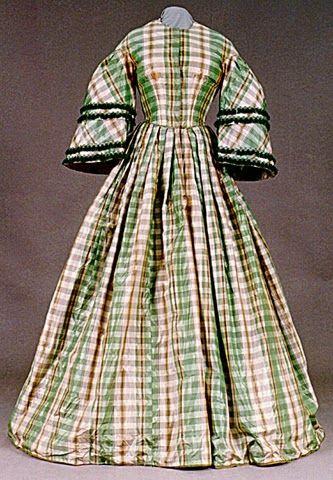 Green and White Taffeta Dress, 1855