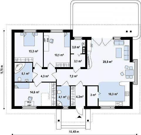 План схема первого этажа Проект дома 1 эт. ( одноэтажный дом ) на 112,3 кв.м ( Арт. 73756 )