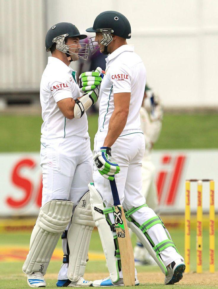 Dean Elgar and Faf du Plessis shared a 112-run stand, South Africa v Australia, 2nd Test, Port Elizabeth, 1st day, February 20, 2014