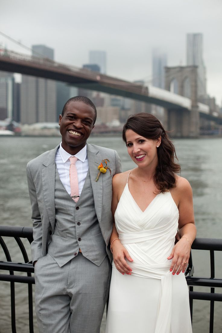 A beautiful Brooklyn, New York wedding celebration.  Photography by JB Reed. Neckwear for the groom and groomsmen by General Knot & Co. : Peach and White Seersucker with 1940s Mini Floral custom designed neckties. Brooklyn Bridge views.