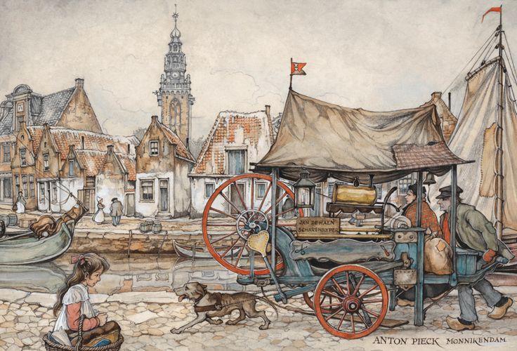 Vanauit zijn liefde voor het oude en zijn bewondering voor vakmanschap legt Anton Pieck graag ambachtslieden vast. Zoals deze scharensliep in Monnickendam, die met zijn handkar langs de deuren gaat om messen en scharen te slijpen.