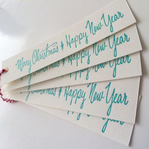 Retro aqua Merry Christmas gift tags pack 5