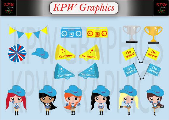Blue and Red Drill Girls Clipart in a PNG 300ppi by KPWgraphics