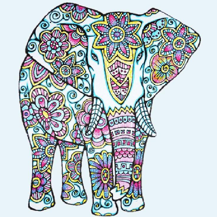 Elefante para colorear página para imprimir por LittleShopTreasures