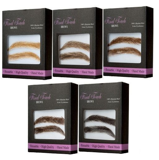 Introducing false eyebrows for men - available in 5 colors for the perfect match, 1 standard shape, 100% human hair.