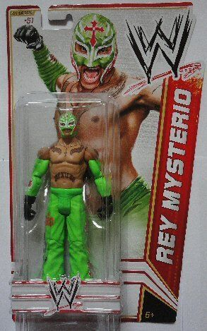 "WWE Series 23 Rey Mysterio Figure by Mattel. $7.99. Features extreme articulation, amazing accuracy, and authentic details. Collect all your favorites WWE Superstars. Bring home the officially licensed WWE action. WWE Series #23 action figures in 7"" Superstar Scale. Kids can recreate their favorite WWE matches. From the Manufacturer                World Wrestling Entertainment Figure Series #23: Bring home the action of the WWE. Kids can recreate their favorite matches with ..."