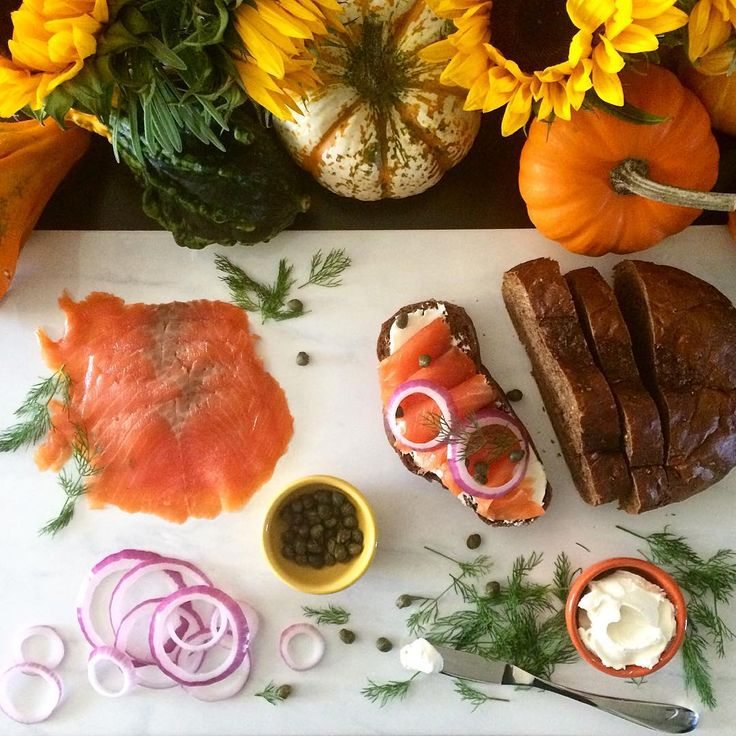#HappyThanksgiving! Our family dinners are done, so today we are enjoying a simple brunch of lox, cream cheese, capers, dill, onions and dark rye. Next, we're off for a hike to take in some #FallColours. Later, settling in to watch the #TorontoBlueJays with a leftover turkey, cranberry and gravy sandwich! @zimmysnook