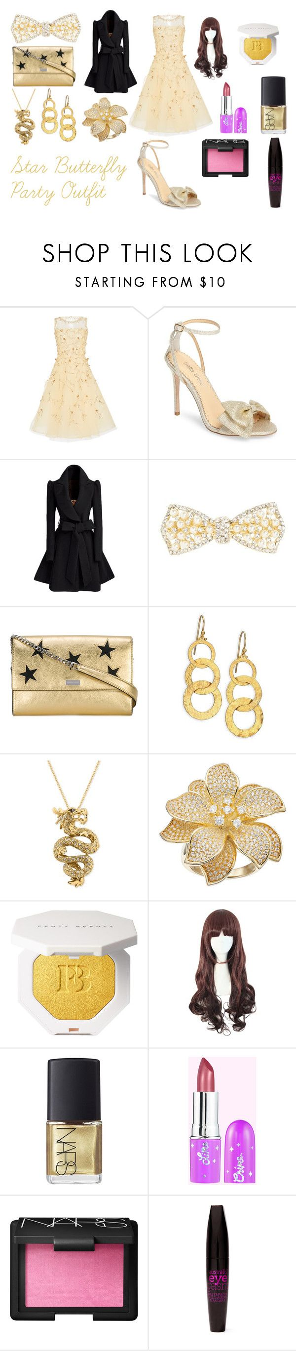 """""""Star Butterfly Party Outfit"""" by bethany3546 on Polyvore featuring Oscar de la Renta, Bella Belle, Cara, STELLA McCARTNEY, Gurhan, Effy Jewelry, NARS Cosmetics and Australis"""