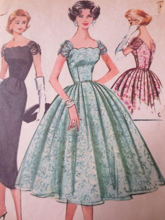 Vintage McCall's 4357 Sewing Pattern, 1950s Dress Pattern, Formal Dress Pattern, Bell Skirt, Bust 36, 1950s Prom Dress, Evening Dress