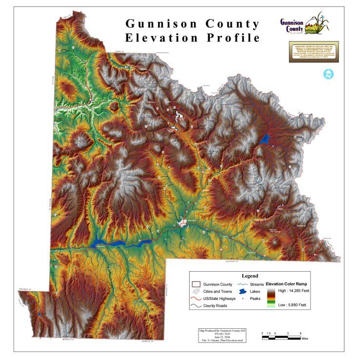 Colorado Elevation Map: Gunnison County Elevation Profile Map.