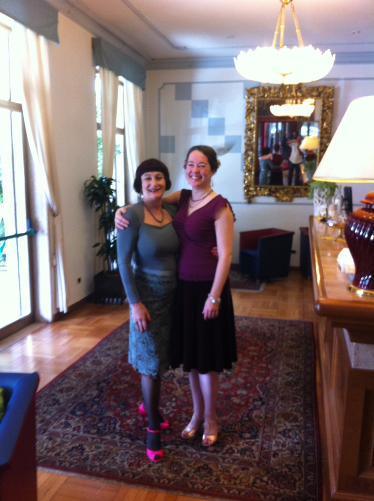 Tango Festival - Eleanor and I ready for the afternoon tea dance. Beautiful shoes by Collecion Recoleta. Warp lace skirt by Todo Trajaedo.
