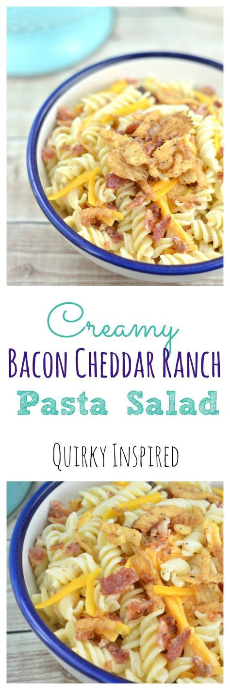 Bacon, cheese, more bacon, and ranch. Oh yeah! This creamy bacon ranch pasta salad is one of my favorite easy pasta salad recipes. It's so good you won't stop eating it! Click the pin for the full recipe!