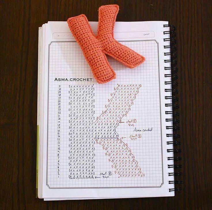 Crochet letter K