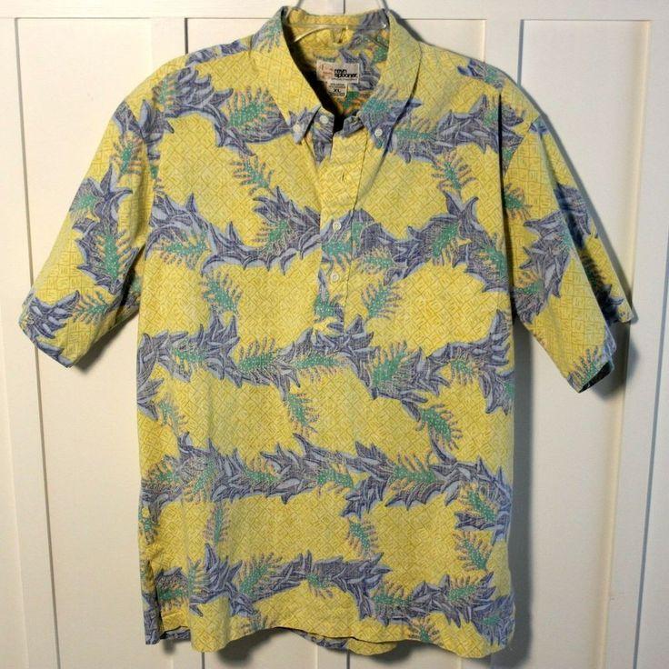 Tori Richard Hawaiian Shirt 100% Cotton Lawn Brown Leaf Block ...
