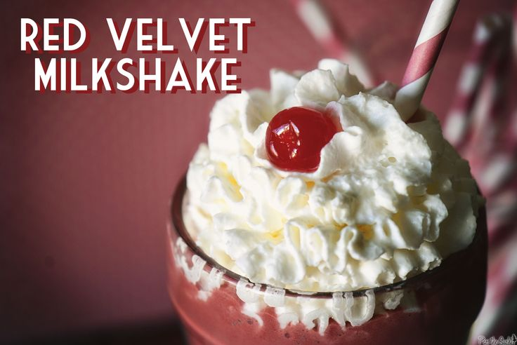 Red Velvet MilkshakeMilkshakes Recipe, Red Velvet Cake, Cake Milkshakes, Yummy Food, Ice Cream, Red Velvet Milkshakes, Drinks, Whipped Cream, Cake Batter