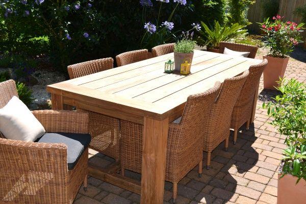 Edle Echtholz Garnitur Java Kor 240 X 100cm Recyceltes Teak Plus 8 Sessel Polyrattan Rattan Mobel Garten Teak Gartenmobel Terrassen Tische
