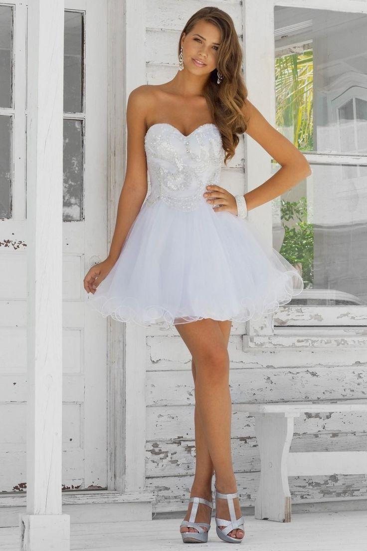 2015 Funky White Pure Sweetheart A Line Hot Sale Applique Prom Short DressesMini DressesCheap Wedding