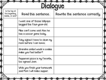 Writing Dialogue Craftivity (Quotation Marks)