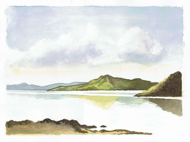 Paesaggio marino di località ignota. Il quadro è una mia riproduzione dell'acquerello dipinto dal pittore inglese Richard Xxxxx. Dipinto da me nel 2017 durante il corso di acquerello tenuta dalla pittrice Roberta Sarchioni.