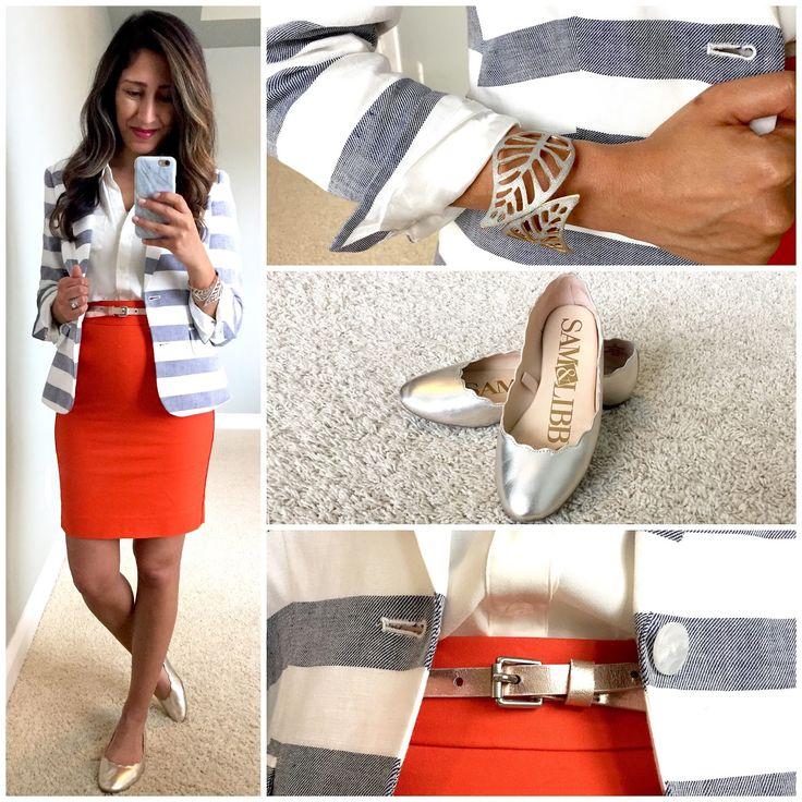 Striped blazer + orange pencil skirt | Work wear | Maternity work wear