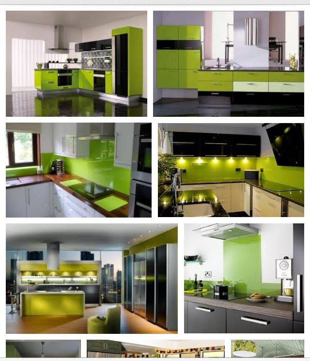 Lime green kitchen idea.