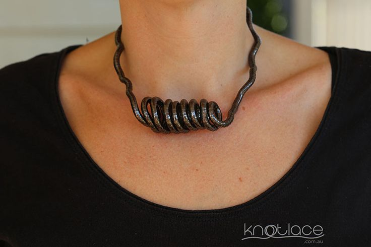 Gunmetal knotlace or bendy necklace - 5mm - http://knotlace.com.au/ #style #fashion #accessory #jewellery