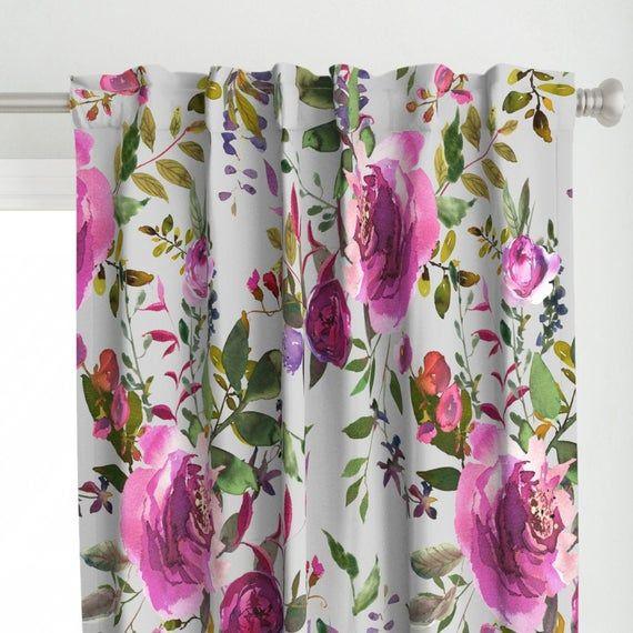 Floral Curtain Panel 21 Dark Pink Purple Florals Light Etsy Floral Curtains Panel Curtains Curtains