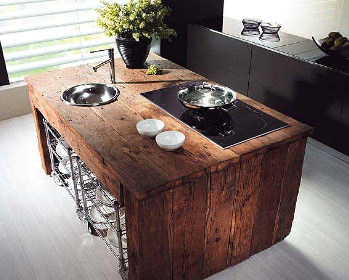 salvaged kitchen island