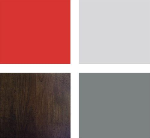 Sample palette: This is a great palette for a bedroom in a warmer climate. Shades of gray and dark wood cool down the spicy red. Clockwise from top left (from Sherwin-Williams): Tanager SW6601, Argos SW7065 and Software SW7074, with black walnut-stained wood.