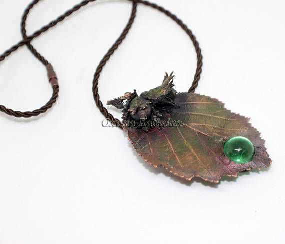 Copper hunzel leaf and nuts Necklace REAL hunzel leaf and