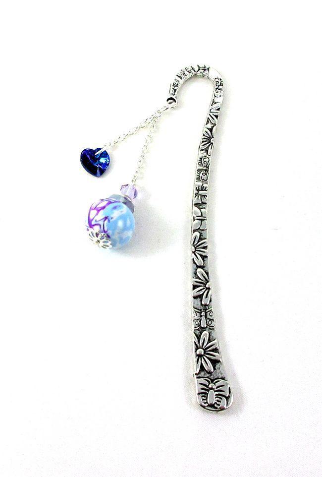 Marque-pages coeur bleu et perle blanche mauve et bleue, idée cadeau original : Marque-pages par lealola