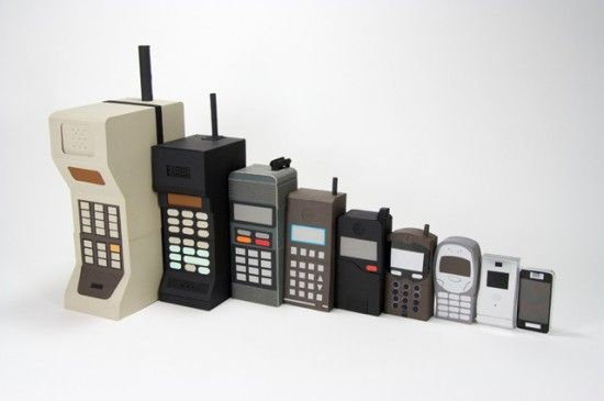 Mobile phone evolution (cardboard) #Mobile, #Phone
