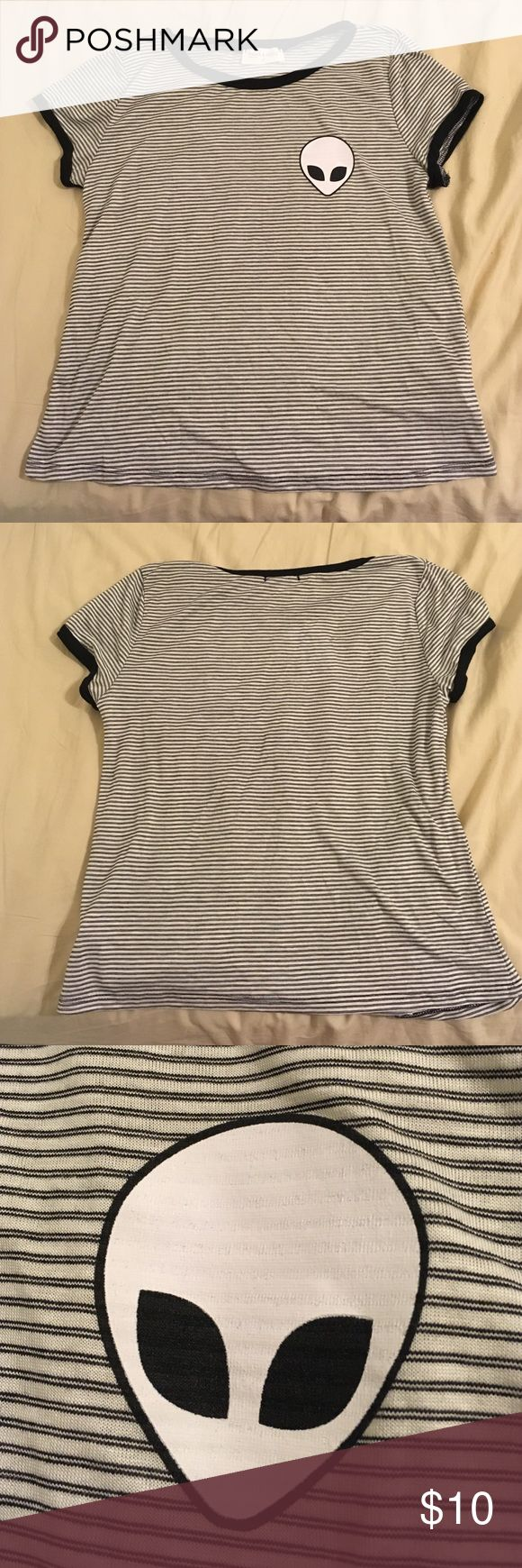 Alien Black and White Striped Ringer Tee Black and white striped ringer with alien on top left part of shirt. french pastry Tops Tees - Short Sleeve