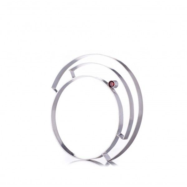 Bracelet - inspired from the japanese Torii gates.  Silver and double sided garnet setting