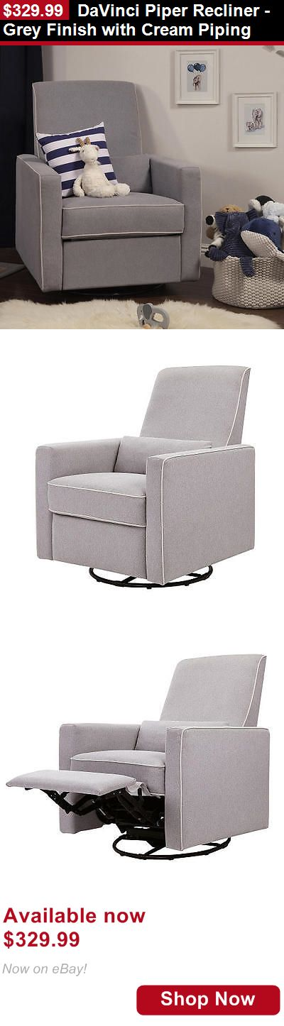 Nursery Furniture Sets: Davinci Piper Recliner - Grey Finish With Cream Piping BUY IT NOW ONLY: $329.99