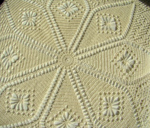 Hand crocheted lace cream tablecloth  READY TO by BearMtnCrochet