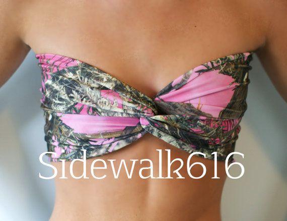Pink Camo Bandeau Top Spandex Bandeau Bikini by Sidewalk616