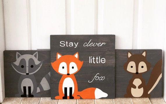 Set of 3 woodland creatures stay clever by AmbersWoodenBoutique
