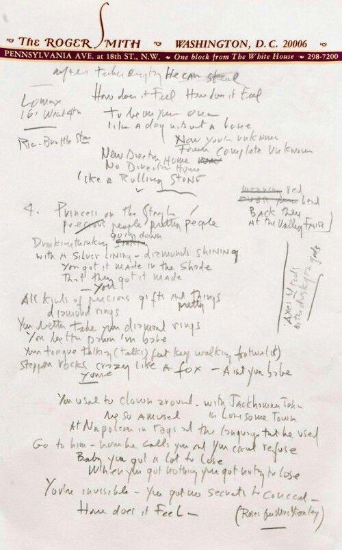 Bob Dylan Like A Rolling Stone Lyrics