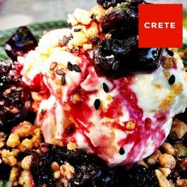 Sweet and salty cheesecake with cherries and crumble