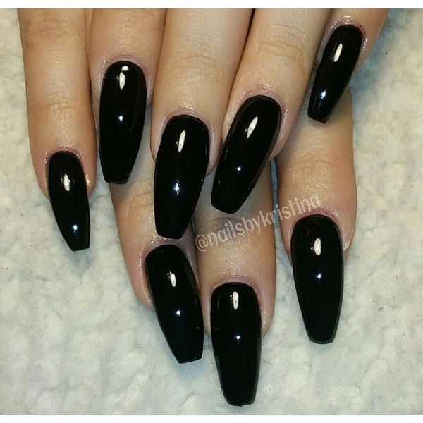 Long black coffin nails ❤ liked on Polyvore featuring beauty products and nail care