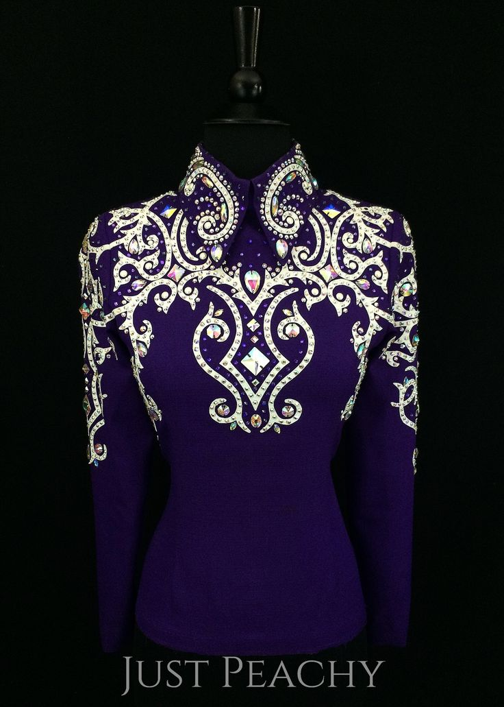 Fancy Purple Horsemanship Outfit with Chaps ~ Just Peachy Show Clothing