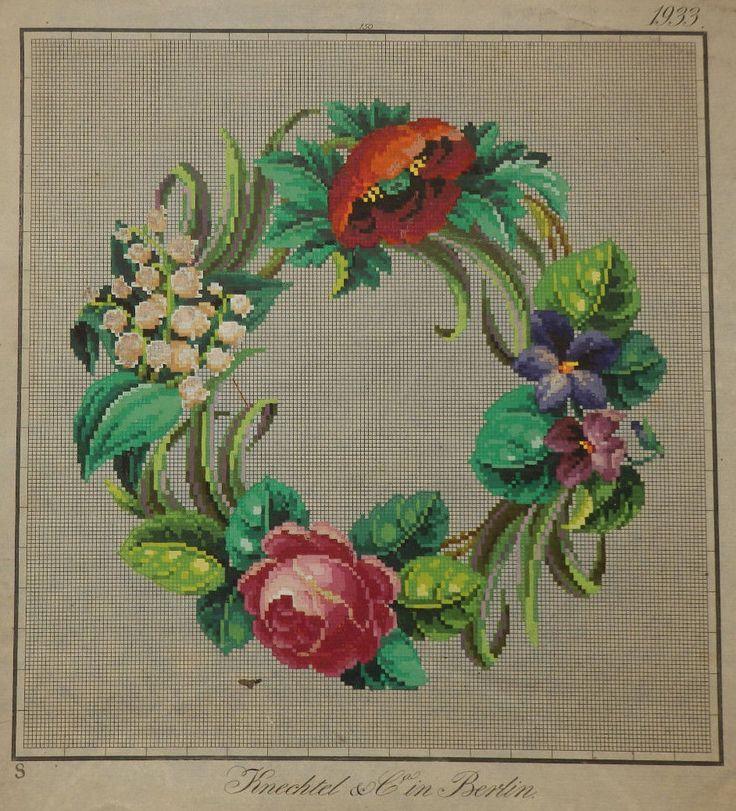 A Beautiful Berlin WoolWork Floral Wreath Pattern Produced By Knechtel In Berlin
