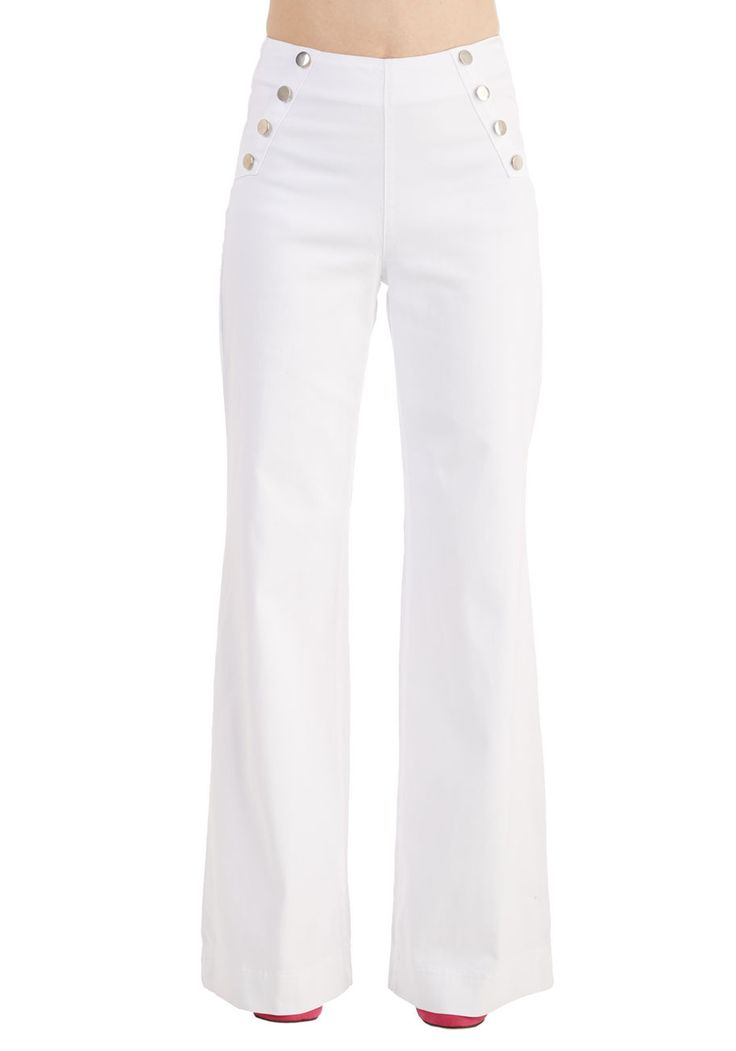 Sailorette the Seas Jeans in White. Get in touch with the tides - and your retro charm - by wearing these high-waisted, wide-leg white jeans! #white #modcloth